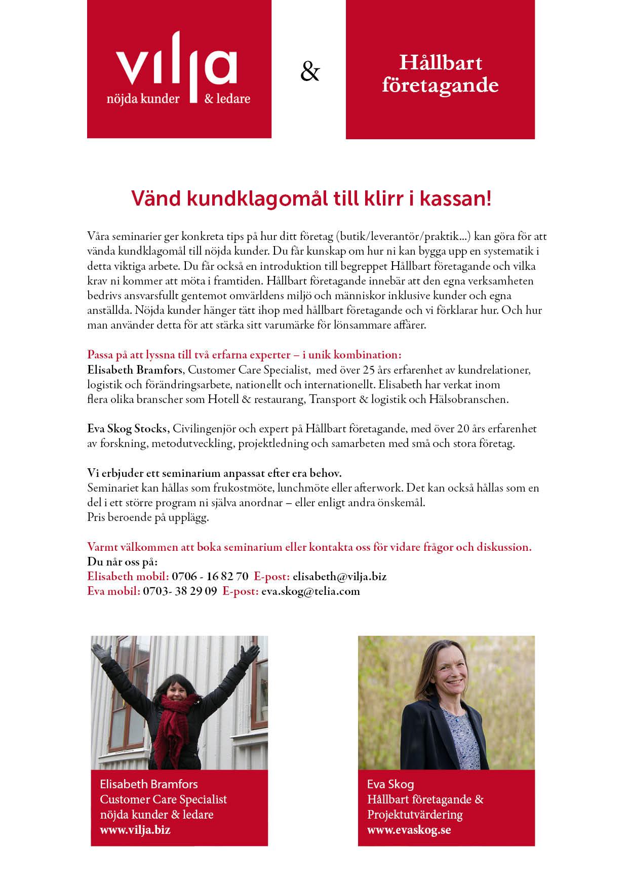 Infoblad Seminarium - Kundrelationer och Hållbat företagande 2016